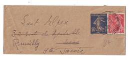 1940 - BANDE POUR JOURNAL JOURNAUX Au TYPE SEMEUSE 10c BLEU + COMPLEMENT MERCURE 30c Pour NICE PUIS RUMILLY SAVOIE - 1921-1960: Modern Period