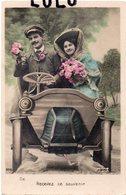 COUPLES 344 : Photo Montage En Voiture ,  Recevez Ce Souvenir , édit. La Reine N° 206 - Couples