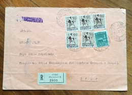 R.S.I. COMO  BUSTA RACCOMANDATA CON MONUMENTI 30+30+30+30+30+ 25 PER CITTA'  IN DATA 29/7/44 - 5. 1944-46 Lieutenance & Umberto II