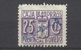 6224C-SELLO FISCAL LOCAL CORPORATIVO 1939-42.CAJA AHORROS PROVINCIAL OVIEDO,ASTURIAS,RAROS.SPAIN REVENUE,ESCASOS. - Revenue Stamps