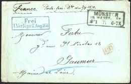 Pli De Münster Du 08/01/1871 Pour Saumur + Cachet De Franchise Bleu + Cachet PD Rouge + Cachet Du Régiment Au Verso - Alsace-Lorraine