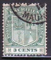Mauritius Queen Victoria 1910 Three Cent Green Stamp. - Mauritius (...-1967)