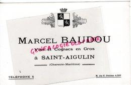 17- SAINT AIGULIN- RARE BUVARD MARCEL BAUDOU -VINS COGNACS EN GROS - VIN COGNAC - Alimentaire
