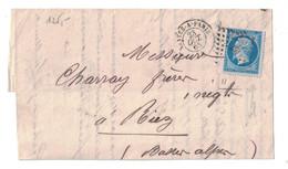 """1865 - CACHET CAD AMBULANT JOUR """" NANTES À PARIS A """" + LOSANGE NP Sur NAPOLEON N°22 Sur LAC (INCOMPLETE) Pour RIEZ ALPES - Marcophilie (Lettres)"""