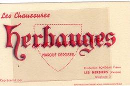 85- LES HERBIERS- RARE BUVARD RONDEAU FRERES -MANUFACTURE CHAUSSURES HERBAUGES-IMPRIMERIE MARCEL SCHMITT BELFORT - Shoes