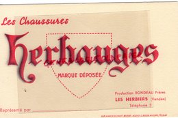 85- LES HERBIERS- RARE BUVARD RONDEAU FRERES -MANUFACTURE CHAUSSURES HERBAUGES-IMPRIMERIE MARCEL SCHMITT BELFORT - Chaussures
