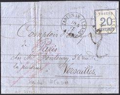 N°6 BURELAGE RENVERSE Seul Sur Lettre De Saverne Pour Versailles Du 10/05/1871 Taxe Noire 2 Décimes  TB - Alsace-Lorraine