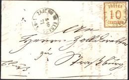 N°5 BURELAGE CITRON Sur Lettre De Saverne Pour Strasbourg Du 05/10/1871    TB - Alsace-Lorraine