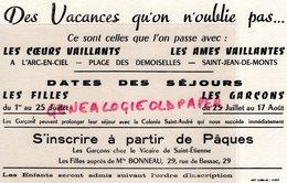 85- SAINT JEAN DE MONTS- RARE BUVARD COEURS VAILLANTS-AMES VAILLANTES-VICAIRE DE SAINT ETIENNE-MLLE BONNEAU-COLONIE - Buvards, Protège-cahiers Illustrés