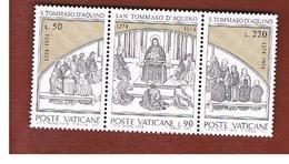 VATICANO (VATICAN) - UNIF. 558.560  - 1974 7^ CENT. S. TOMMASO D' AQUINO (SERIE COMPLETA IN TRITTICO SE-TENANT)-  MINT** - Nuovi
