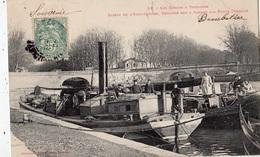 TOULOUSE (LES CANAUX  ) BASSIN DE L'EMBOUCHURE REUNION DES 3 CANAUX AUX PONTS JUMEAUX (REMORQUEUR PENICHES) - Toulouse