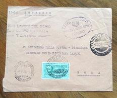 """ESPRESSO L. 1,25 ISOLATO SU BUSTA ESPRESSO CON FRANCHIGIA  TORINO 7/8/39 + """" MINISTERO GUERRA N.2 UFFICIO SPEDIZIONI - 1900-44 Vittorio Emanuele III"""