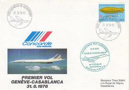 Concorde ,1er Vol Genéve - Casablanca,du 31.08.1976 - Poste Aérienne