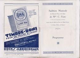 PROGRAMME AUDITION MUSICALE DES ELEVES DE MME FIORE A BEZIERS En 1936! - Programmes
