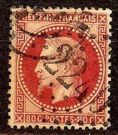 SUPERBE NAPOLEON N°32a 80c Rose Vif Oblitéré Losange GC 2240 Cote 45€ PAS AMINCI - 1863-1870 Napoléon III Lauré