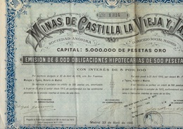 MINES DECASTILLA LA VIEJA Y JAEN - 6000 OBLIGATIONS DE 500 PESETAS OR -ANNEE 1910 - Mines
