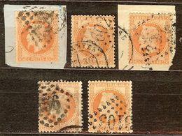 JOLI LOT 5 NAPOLEON N°31 40c Orange NUANCE & CACHETS à Voir Cote +50€ PAS AMINCI - 1863-1870 Napoléon III Lauré