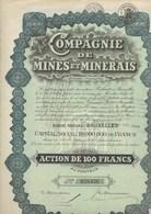 COMPAGNIE DE MINES ET MINERAIS - ACTION DE 100 FRANCS- ANNEE 1930 - Mines
