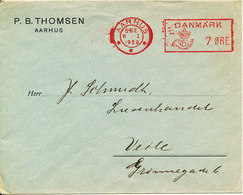 Denmark Cover With Meter Cancel Aarhus 6-1-1928 P. B. Thomsen Aarhus - 1913-47 (Christian X)
