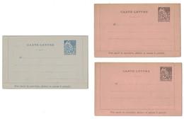 LOT De 3 CARTES-LETTRES NEUVES Au TYPE ALPHÉE DUBOIS (COLONIES GENERALES) Avec 2 PIQUAGES Du 25c + 15c - Alphée Dubois