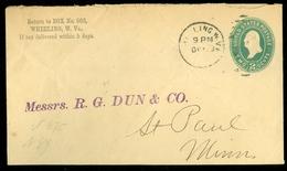 USA 1893 GREEN 1 Cent * LETTER  From WHEELING To St. PAUL MINN.   (11.445a) - 1847-99 Algemene Uitgaves