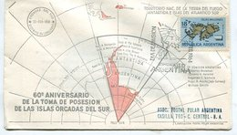 SOBRE OBLITERADO 60º ANIV DE LA TOMA DE POSESION DE LAS ISLAS ORCADAS DEL SUR DIA DE EMISION 1964 FDC -LILHU - Polar Philately