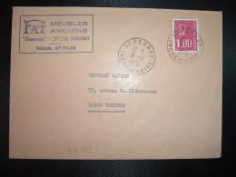 LETTRE TP M. DE BEQUET 1,00 3BP OBL.11-12 1976 37 PERNAY INDRE ET LOIRE + FA MEUBLES ANCIENS - Postmark Collection (Covers)