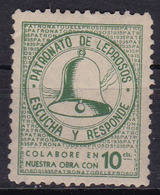 PATRONATO DE LEPROSOS, ESCUCHA Y RESPONDE. VERDE GREEN COLOR STAMP-LEPRA HANSEN'S DISEASE-CIRCA 1940- BLEUP - Disease