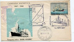 SOBRE CAMPAÑA ANTARTICA OBLITERADO ARGENTINA TRASPORTE ARA BAHIA AGUIRRE 1967 SPC -LILHU - Polar Philately