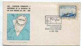 SOBRE OBLITERADO 1904 OCUPACION DE ORCADAS DEL SUR BUENOS AIRES ARGENTINA 1969 SPC ANTARTIDA -LILHU - Polar Philately