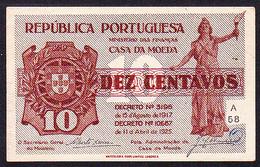 Portugal - Cédula Casa Da Moeda / Dez Centavos, 11 De Abril De 1925 - Série A 58 - Portugal