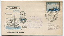 MATASELLO 1º ESTADA DE INVESTIGADORAS ARGENTINAS EN LA ANTARTIDA DESTACAMIENTO NAVAL MELCHOR SPC 1969 CIRCULADO -LILHU - Polar Philately