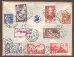 1937  Lettre Avion Pour L'Argentine  9 Timbres! Bériot, Mermoz, Loti, Le Cid Etc - France