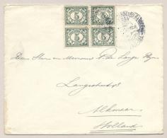 Nederlands Indië - 1923 - 5 Cent Cijfer In Blok Van 4 Op Cover Met Jaarbeursstempel Medan Naar Alkmaar / Nederland - Nederlands-Indië
