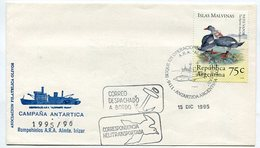 SOBRE MATASELLOS BUQUE EN OPERACIONES ARA ALMIRANTE IRIZAR 1995 CORRESPONDENCIA HELITRASPORTADA DESPACHO A BORDO -LILHU - Polar Philately