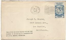 ESTADOS UNIDOS CC 1934 DESDE LA BASE ANTARTICA LITTLE AMERICA ANTARCTIC AL DORSO MAT - Estaciones Científicas
