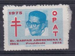 OPAT 1975, DR GASPAR AROSEMENA F PRESIDENTE-VIÑETA PANAMA ANTITUBERCULOSIS- BLEUP - Disease