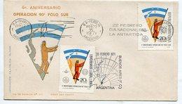 SOBRE 5º ANIV. OPERACION 90º POLO SUR 1971 BANDELETA PARLANTE DIA NACIONAL DE LA ANTARTIDA ARGENTINA 1997FDC -LILHU - Polar Philately