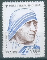 France, Mother Teresa, Albanian Roman Catholic Nun, 2010, MNH VF Self-adhesive Stamp - Unused Stamps