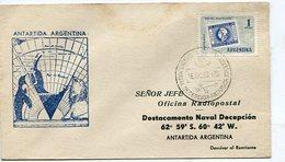 SOBRE ANTARTIDA ARGENTINA MATASELLO DESTEC NAVAL DECEPCION 1960 CIRCULADO SPC -LILHU - Polar Philately