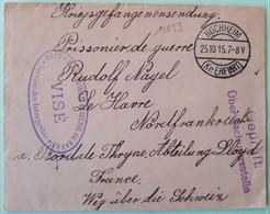 19853# ALLEMAGNE LETTRE Pour PRISONNIER DE GUERRE Obl HOCHHEIM Kr. ERFURT 1915 Pour LE HAVRE Par La SUISSE - Marcophilie (Lettres)