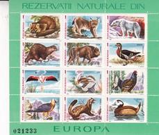 REZERVATII NATURALE DIN EUROPA. POSTA ROMANA, YEAR 1987 FULL BLOCK FAUNA-TBE- BLEUP - Neufs