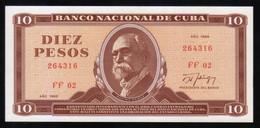 Caribe  / 10 PESOS 1989 Serie FF-02 264316  Pick 104d UNC - Cuba