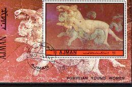 Kunst Am Vesuv 1972 Ajman Block.518 O 5€ Skulptur Junge Frauen Paar Aus Pompeji Hoja S/s Painting Bloc Sheet Bf Art - Monuments