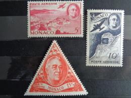 MONACO 1946 P.A. Y&T N° 19 à 21 ** - HOMMAGE AU PRESIDENT F. D. ROOSEVELT - Poste Aérienne