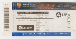 SPAIN 2010 FOOTBALL TICKET FC BARCELONA REAL ZARAGOZA - Soccer