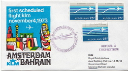 Netherlands First Flight Cover, Amsterdam - Bahrain - Postal History
