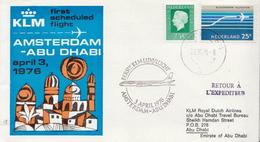 Netherlands First Flight Cover, Amsterdam - Abu Dhabi - Postal History