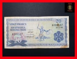 BURUNDI 20 Francs 1.11.1968  P. 21 A  VF - Burundi