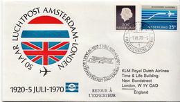 Netherlands First Flight Cover, Amsterdam - London - Postal History